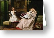 Doll Painting Greeting Cards - Motherly Love Greeting Card by Gustave Leonard de Jonghe