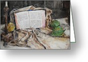 Spiritual Art Pastels Greeting Cards - Mothers Bible Greeting Card by Becky Kim