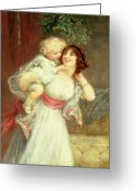 Caress Greeting Cards - Mothers Darling Greeting Card by Frederick Morgan