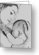 Feeding Drawings Greeting Cards - Mothers Love Greeting Card by Gil Fong