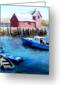 Shack Pastels Greeting Cards - Motif One Rockport Harbor Greeting Card by Jack Skinner
