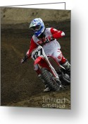 Motorcycle Racing Greeting Cards - Motocross Determination Greeting Card by Bob Christopher