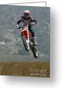 Motorcycle Racing Greeting Cards - Motocross Giving It Greeting Card by Bob Christopher