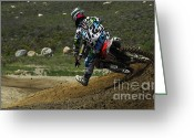 Motorcycle Racing Greeting Cards - Motocross Going For It Greeting Card by Bob Christopher