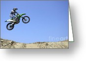 Motorcycle Racing Greeting Cards - Motocross Going Skyward Greeting Card by Bob Christopher