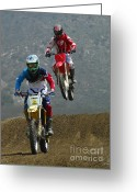 Motorcycle Racing Greeting Cards - Motocross Great Fun Greeting Card by Bob Christopher