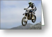Motorcycle Racing Greeting Cards - Motocross Incoming Greeting Card by Bob Christopher