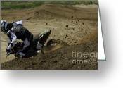 Motorcycle Racing Greeting Cards - Motocross Pushing It Greeting Card by Bob Christopher