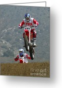 Motorcycle Racing Greeting Cards - Motocross Ready To Rumble Greeting Card by Bob Christopher