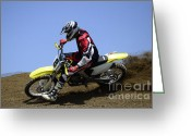 Motorcycle Racing Greeting Cards - Motocross Rocket Man Greeting Card by Bob Christopher