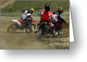 Motorcycle Racing Greeting Cards - Motocross Trio Greeting Card by Bob Christopher