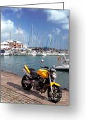 Sailing Fast Greeting Cards - Motorbike at the marina Greeting Card by Gaspar Avila