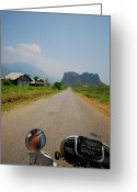 The Way Forward Greeting Cards - Motorbike Trip Through Northern Vietnam Greeting Card by Thepurpledoor