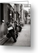 Street Greeting Cards - Motorbikes Parked On Street In Tokyo, Japan Greeting Card by photo by Jason Weddington