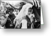 Counterculture Greeting Cards - Motorcycle Club Wedding Greeting Card by Granger