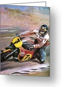 Motorcycle Racing Greeting Cards - Motorcycle racing Greeting Card by Graham Coton