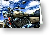 Motorbike Greeting Cards - Motorcycle Shadow Sabre Greeting Card by Edward Myers