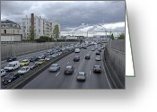Le May Greeting Cards - Motorway Traffic, Paris Greeting Card by Carlos Dominguez
