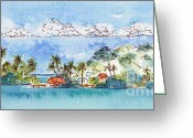 South Seas Greeting Cards - Motu Toopua Bora Bora Greeting Card by Pat Katz