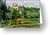 Post-impressionist Greeting Cards - Moulin de la Couleuvre at Pontoise Greeting Card by Paul Cezanne