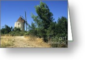 South Of France Greeting Cards - Moulin of Daudet. Fontvieille. Provence Greeting Card by Bernard Jaubert