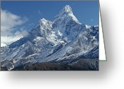 Ama Greeting Cards - Mount Ama Dablam Above Thyangboche Greeting Card by Gordon Wiltsie