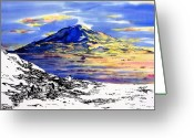Blues Tapestries - Textiles Greeting Cards - Mount Erebus Antarctica Greeting Card by Carolyn Doe