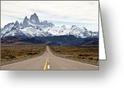 Yellow Line Greeting Cards - Mount Fitzroy Greeting Card by © Lucas Brentano
