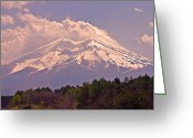 Purple Clouds Greeting Cards - Mount Fuji Greeting Card by David Rucker