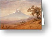 Snow Capped Painting Greeting Cards - Mount Hood Greeting Card by Albert Bierstadt