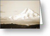 Fall Cards Greeting Cards - Mount Hood Snow Greeting Card by Andrea Hazel Ihlefeld