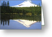 Trillium Lake Greeting Cards - Mount Hood-Trillium Lake Greeting Card by Frederic Kohli
