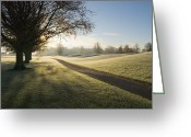 Golf Green Greeting Cards - Mount Juliet Golf Course Covered In Frost Greeting Card by Design Pics / Millan Knapik