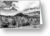 Baxter Park Greeting Cards - Mount Katahdin Panoramic Greeting Card by Chad Tracy