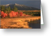 Baxter Park Greeting Cards - Mount Katahdin Snow Foliage Greeting Card by John Burk