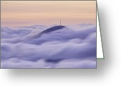 Mountains Photographs Greeting Cards - Mount Pisgah in the Clouds Greeting Card by Rob Travis