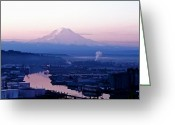 Commencement Bay Greeting Cards - Mount Rainier dawn above Port of Tacoma Greeting Card by Sean Griffin