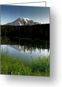 Snow-cap Greeting Cards - Mount Rainier from Reflection Lake Washington Greeting Card by Brendan Reals