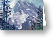 Mountain Summit Greeting Cards - Mount Rainier from Sunrise Point Greeting Card by Donald Maier