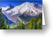 Snowscape Greeting Cards - Mount Rainier III Greeting Card by David Patterson