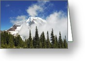Glacier Greeting Cards - Mount Rainier In Clouds Greeting Card by Brendan Reals
