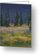Blue Flowers Pastels Greeting Cards - Mount Rainier Meadow Greeting Card by David Patterson