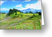 Alberta Greeting Cards - Mount Rainier Summer Colors Greeting Card by Feng Wei Photography