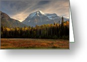 Snow Capped Digital Art Greeting Cards - Mount Robson in autumn Greeting Card by Mark Duffy