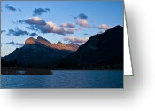 Mountain Peaks Greeting Cards - Mount Rundle Left And Sulphur Mountain Greeting Card by Zoltan Kenwell