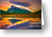 Tara Turner Greeting Cards - Mount Rundle Sundown Greeting Card by Tara Turner