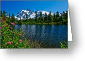 Rosy Greeting Cards - Mount Shuksan and Highwood Lake Greeting Card by Dan Mihai