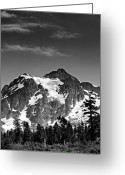 Snow Capped Photo Greeting Cards - Mount Shuksan Black and White Cascade Mountains Washington Greeting Card by Brendan Reals