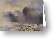 Raining Painting Greeting Cards - Mount Snowdon through Clearing Clouds Greeting Card by Alfred William Hunt