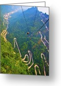 Winding Road Greeting Cards - Mount Tianmen Greeting Card by Feng Wei Photography